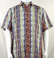 Bassiri Multi-Color Wave Pattern Short Sleeve Camp Shirt