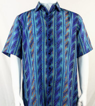Bassiri Aqua Blue Wave Pattern Short Sleeve Camp Shirt