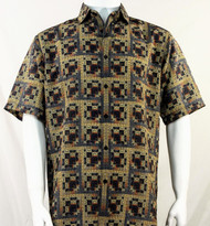Bassiri Brown Greek Key Design Short Sleeve Camp Shirt