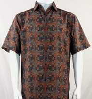 Bassiri Brick Red Greek Key Design Short Sleeve Camp Shirt