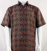 Bassiri Brick Red Greek Key Design Short Sleeve Camp Shirt