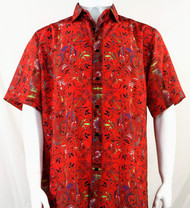 Bassiri Red Festive Design Short Sleeve Camp Shirt