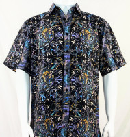 Bassiri Black & Blue Festive Design Short Sleeve Camp Shirt