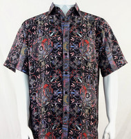 Bassiri Black & Red Festive Design Short Sleeve Camp Shirt