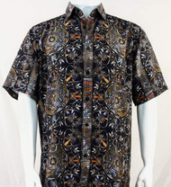 Bassiri Black & Orange Festive Design Short Sleeve Camp Shirt