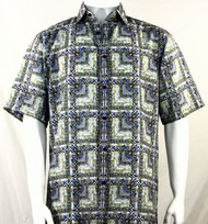 Bassiri Blue & Charcoal Abstract Squares Short Sleeve Camp Shirt
