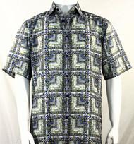 Bassiri Blue & Charcoal Abstract Squares Short Sleeve Camp Shirt