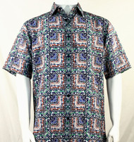 Bassiri Green & Blue Abstract Squares Short Sleeve Camp Shirt