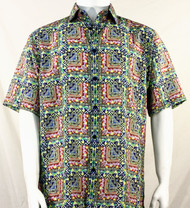 Bassiri Green & Pink Abstract Squares Short Sleeve Camp Shirt