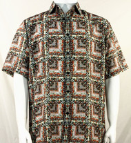 Bassiri Brown & Rust Abstract Squares Short Sleeve Camp Shirt