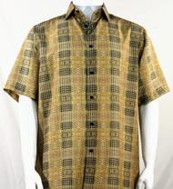 Bassiri Gold Artistic Plaid Design Short Sleeve Camp Shirt
