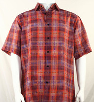 Bassiri Red Artistic Plaid Design Short Sleeve Camp Shirt
