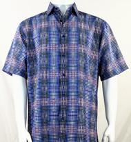 Bassiri Blue Artistic Plaid Design Short Sleeve Camp Shirt