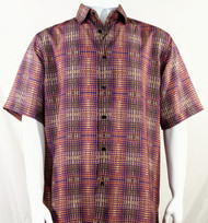 Bassiri Coral Artistic Plaid Design Short Sleeve Camp Shirt