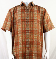 Bassiri Orange Artistic Plaid Design Short Sleeve Camp Shirt