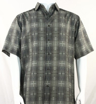 Bassiri Grey Artistic Plaid Design Short Sleeve Camp Shirt