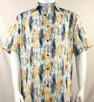 Bassiri Yellow and Blue Splash Pattern Short Sleeve Camp Shirt
