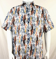 Bassiri Orange and Gold Splash Pattern Short Sleeve Camp Shirt