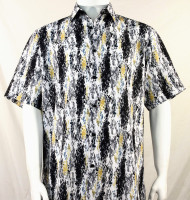 Bassiri Black and Yellow Splash Pattern Short Sleeve Camp Shirt