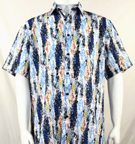 Bassiri Navy and Light Blue Splash Pattern Short Sleeve Camp Shirt
