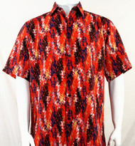 Bassiri Orange and Black Splash Pattern Short Sleeve Camp Shirt
