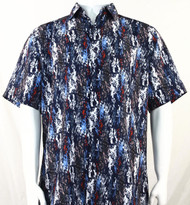 Bassiri Blue & Red Splash Pattern Short Sleeve Camp Shirt