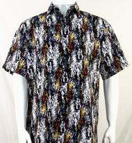 Bassiri Black & White Splash Pattern Short Sleeve Camp Shirt