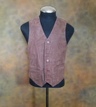 Luis Alvear Brown Crinkle Genuine Leather Vest