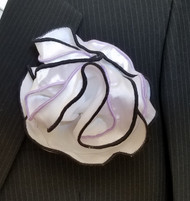 Antonio Ricci Double Color Pouf Pocket Square - Black & Lavender on White