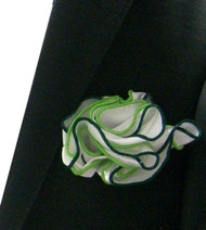 Antonio Ricci Double Color Pouf Pocket Square - Green & Lime on White