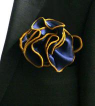 Antonio Ricci 2-in-1 Pouf Pocket Square - Gold Trim on Navy