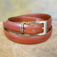 Cognac Leather Belt with Gold Buckle - Made in Italy 050