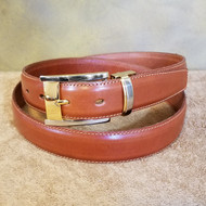 Cognac Leather Belt with Gold Buckle - Made in Italy 049