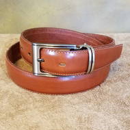 Cognac Leather Belt with Gun Metal Buckle - Made in Italy 048