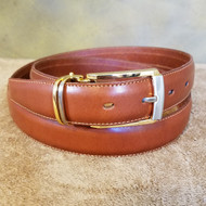 Cognac Leather Belt with Silver & Gold Buckle - Made in Italy 047