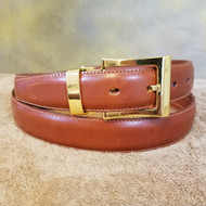 Cognac Leather Belt with Gold Buckle - Made in Italy 046