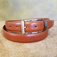Cognac Leather Belt with Gun Metal Buckle - Made in Italy 045