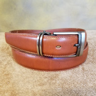 Cognac Leather Belt with Gun Metal Buckle - Made in Italy 044