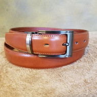 Cognac Leather Belt with Gun Metal Buckle - Made in Italy 043