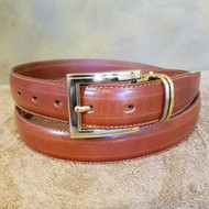 Cognac Leather Belt with Gold & Silver Metal Buckle - Made in Italy 042