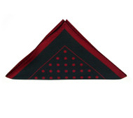 Antonio Ricci Burgundy Polka Dot on Black Pocket Square