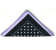 Antonio Ricci Lilac Polka Dot on Black Pocket Square