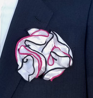 Antonio Ricci Double Color Pouf Pocket Square - Black & Fuchsia on White