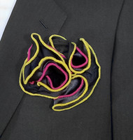 Antonio Ricci Double Color Pouf Pocket Square - Yellow & Fuchsia on Black