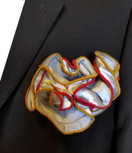 Antonio Ricci Double Color Pouf Pocket Square - Gold and Red on Grey