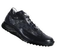 Mauri Genuine Black Crocodile & Embossed Leather Sneaker