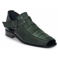 Mauri Genuine Crocodile & Ostrich Hunter Green Sandals