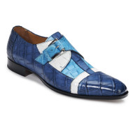 Mauri Genuine Multi Blue Alligator Monk Buckle Dress Shoe