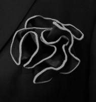 Antonio Ricci 2-in-1 Pouf Pocket Square - Grey on Black