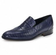 Mauri Genuine Blue Alligator and Ostrich Leg Italian Loafer Shoe
